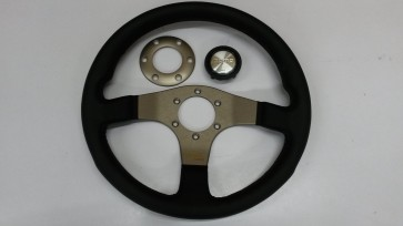Silver/Gold Momo Tuner Steering Wheel