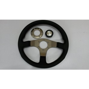 Silver/Gold Momo Tuner Steering Wheel